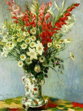 Claude Monet Painting - Bouquet of Gadiolas Lilies and Dasies Claude Monet